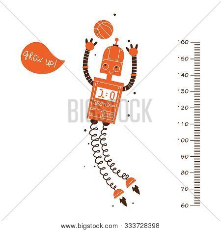 Kids Height Ruler With A Robot And A Ball For Wall Decals, Wall Stickers - Vector