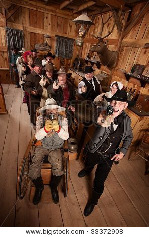 Rowdy Crowd With Guns In Saloon