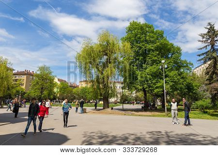 Sofia, Bulgaria- 30 April 2015: People Walking Around The Square At The Church Of The Holy Transfigu