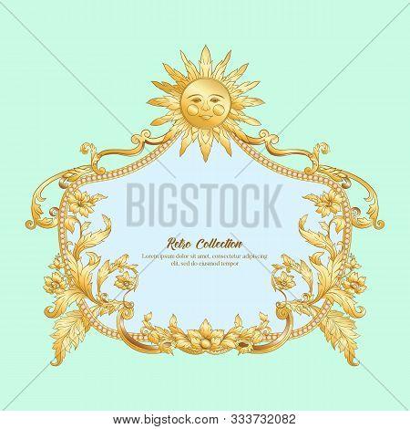 Border, Frame Label In Baroque Rococo, Victorian Renaissance Style. Trendy Floral Vintage Pattern. V