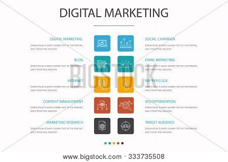 Digital Marketing Infographic 10 Option Concept. Internet, Marketing Research, Social Campaign, Pay
