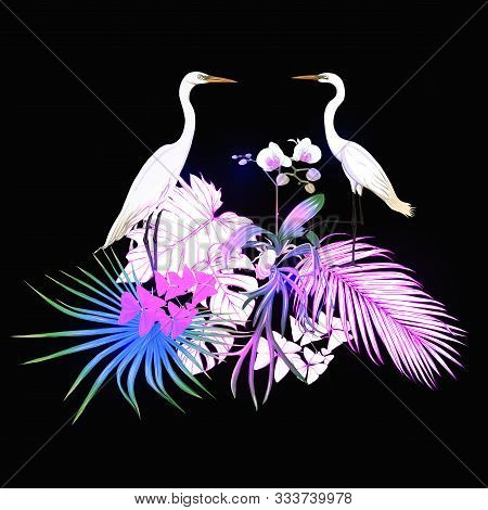 A Composition Of Tropical Plants, Palm Leaves, Monsters And White Orchids With Heron In Botanical St