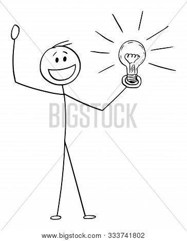 Cartoon Stick Figure Drawing Conceptual Illustration Of Happy Celebrating Man Or Businessman With Id
