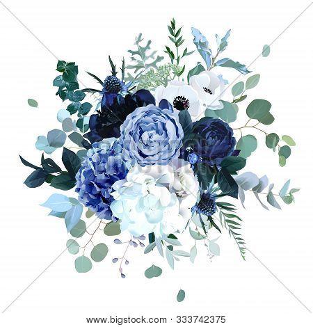 Royal Blue, Navy Garden Rose, White Hydrangea Flowers, Anemone, Thistle, Eucalyptus, Peony, Berry Ve