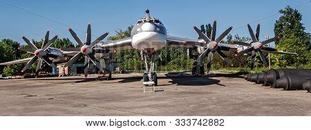 Poltava, Ukraine - October 19, 2019: Tupolev Tu-95, Nato Bear, Russian Aerospace Forces Four Engine