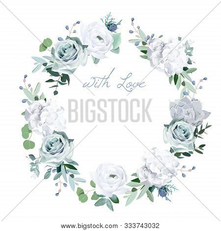 Winter Grey, Green Jade And Sage Color Vector Design Round Card. Echeveria Blue Succulent, Hydrangea