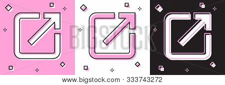 Set Open In New Window Icon Isolated On Pink And White, Black Background. Open Another Tab Button Si