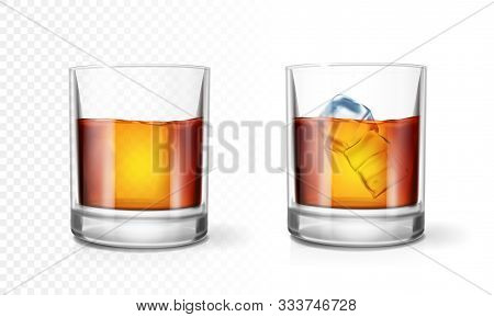 Transparent Glass Of Scotch Whiskey Or Rum With Ice Cubes Realistic Set