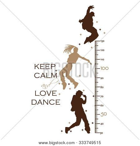 Kids Height Ruler With Boys And Girls Are Dancing  For Wall Decals, Wall Stickers - Vector
