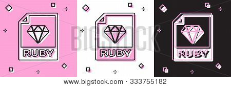Set Ruby File Document. Download Ruby Button Icon Isolated On Pink And White, Black Background. Ruby