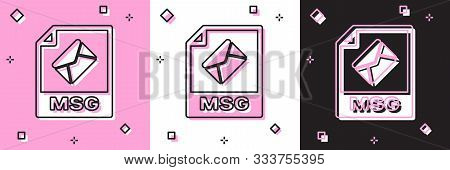 Set Msg File Document. Download Msg Button Icon Isolated On Pink And White, Black Background. Msg Fi