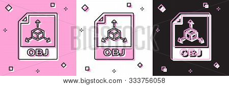 Set Obj File Document. Download Obj Button Icon Isolated On Pink And White, Black Background. Obj Fi