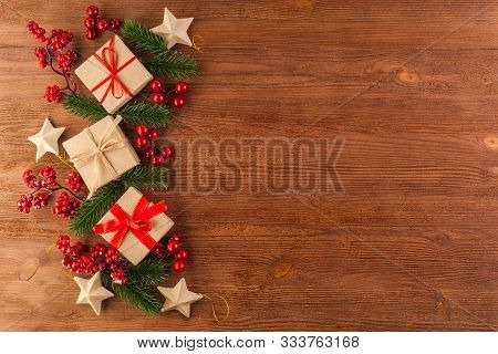 Christmas Decorations Made By Hand In A Festive Decoration On A Wooden Table. Toys Made From Natural