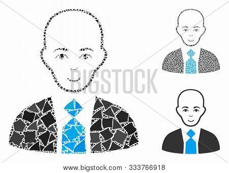 Bald Boss Composition Of Bumpy Elements In Various Sizes And Color Tinges, Based On Bald Boss Icon.