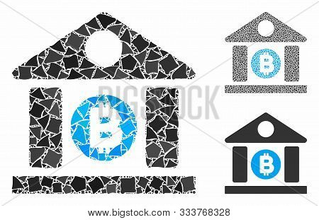 Bitcoin Bank Building Mosaic Of Bumpy Items In Different Sizes And Color Tinges, Based On Bitcoin Ba