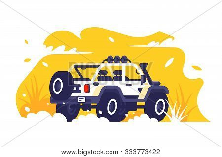 Car On Off-road Terrain Vector Illustration. Sport Utility Vehicle Driving On Trackless Road Flat St
