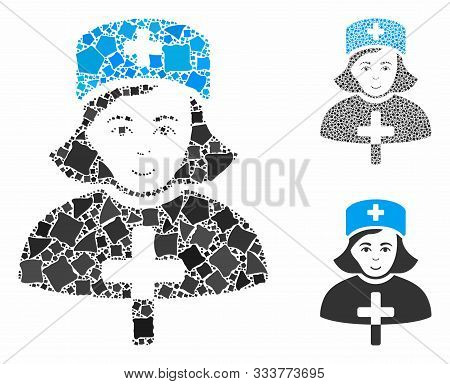 Catholic Lady Doctor Mosaic Of Rugged Pieces In Variable Sizes And Color Tinges, Based On Catholic L