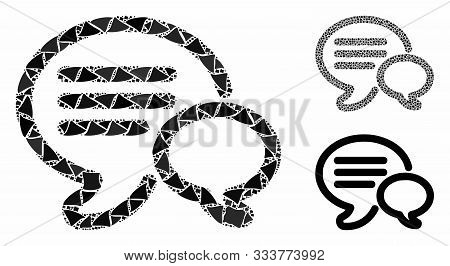 Chat Mosaic Of Bumpy Elements In Different Sizes And Color Tints, Based On Chat Icon. Vector Bumpy E