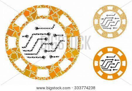 Circuit Casino Chip Composition Of Abrupt Items In Variable Sizes And Color Tints, Based On Circuit
