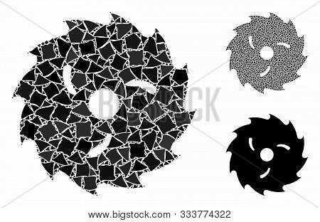 Circular Wood Blade Mosaic Of Raggy Elements In Various Sizes And Color Tints, Based On Circular Woo