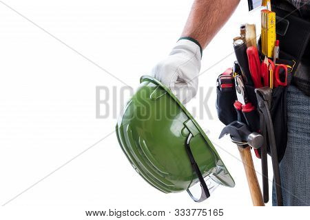 Carpenter Isolated On A White Background; He Wears Leather Work Gloves, He Is Holding His Helmet And