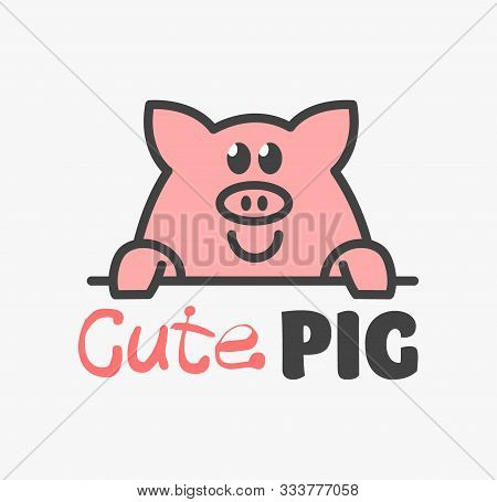 Vector Logo Of сute Funny Smiling Cartoon Pig. Modern Humorous Logo Template With Image Of The Pork.