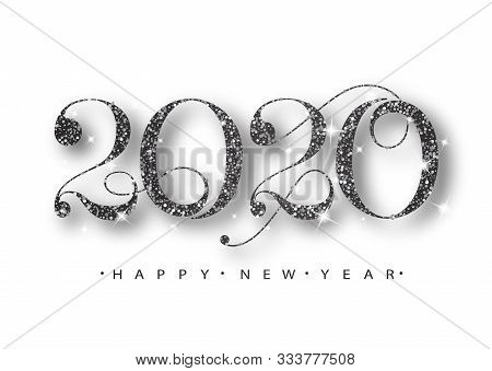 2020 Happy New Year. Black Numbers Design Of Greeting Card. Black Shining Pattern. Happy New Year Ba