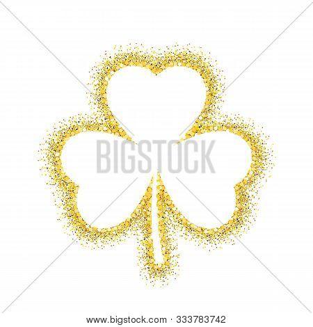 Gold Shamrock Leave Icon - Saint Patricks Day Symbol, Glittering Shamrock Leafsolated On White Backg
