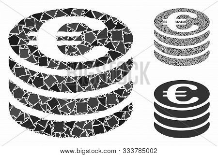 Euro Coin Column Composition Of Bumpy Pieces In Variable Sizes And Color Hues, Based On Euro Coin Co