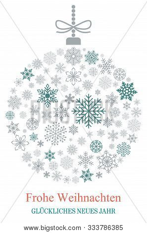 Christmas Bauble Vector With Snowflakes, Silver Hanger And German Christmas Greetings On White Backg