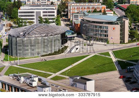 Zlin, Czech Republic - April 29 2018: Tomas Bata University Center With Multimedia Library And Recto