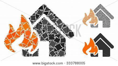 Fire Damage Mosaic Of Joggly Parts In Various Sizes And Color Hues, Based On Fire Damage Icon. Vecto