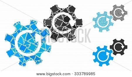Gears Rotation Composition Of Unequal Items In Different Sizes And Color Tones, Based On Gears Rotat