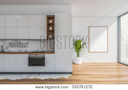 White And Marble Kitchen, Countertops And Poster