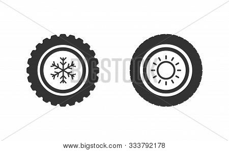 Car Wheels With Winter And Summer Tires. Winter Tires With Snowflake And Summer Symbols