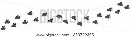 Bear Paws Print. Footpath Trail Of Animal, Vector Illustration