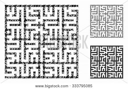 Labyrinth Mosaic Of Joggly Parts In Various Sizes And Color Tints, Based On Labyrinth Icon. Vector H
