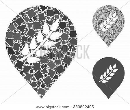 Plantation Mark Mosaic Of Humpy Elements In Different Sizes And Color Tones, Based On Plantation Mar