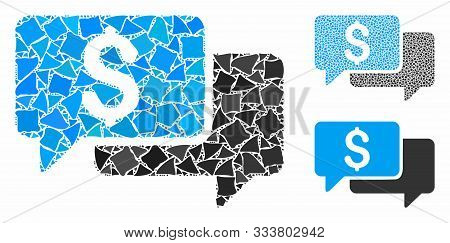 Price Bids Mosaic Of Unequal Pieces In Various Sizes And Color Tones, Based On Price Bids Icon. Vect