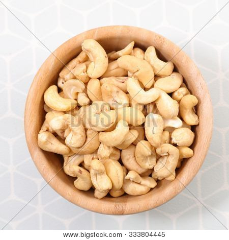 bowl with cashew nut, top view