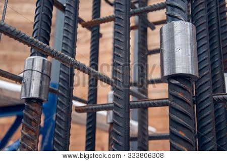 Steel Reinforcement For Concrete For Pouring The Concrete Base Of The Building. The Method Of Connec