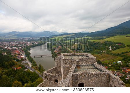STRECNO, SLOVAK REPUBLIC - SEPTEMBER 6, 2009:  View from castle near Zilina in Slovak Republic. This is location from movie ,,Dragonheart,, Dragonheart is a 1996 fantasy–adventure film.