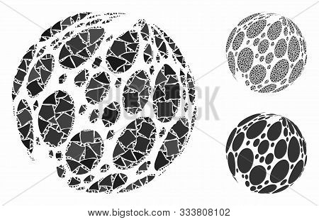 Spotted Abstract Sphere Composition Of Trembly Elements In Different Sizes And Shades, Based On Spot
