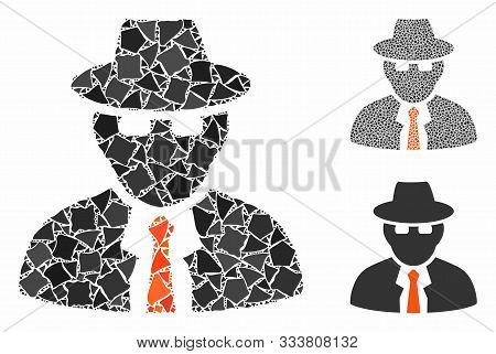 Spy Composition Of Abrupt Items In Various Sizes And Color Tones, Based On Spy Icon. Vector Humpy El