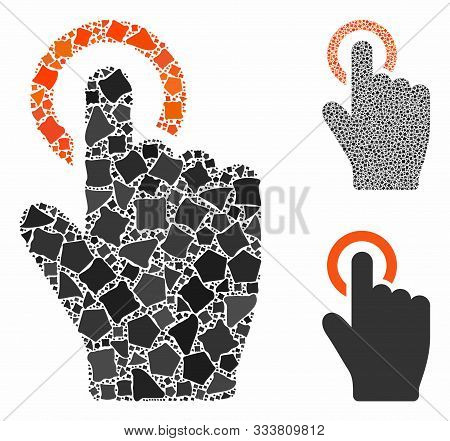 Tap Gesture Mosaic Of Tuberous Elements In Variable Sizes And Shades, Based On Tap Gesture Icon. Vec