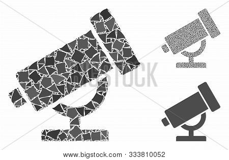Telescope Mosaic Of Tuberous Pieces In Various Sizes And Shades, Based On Telescope Icon. Vector Irr