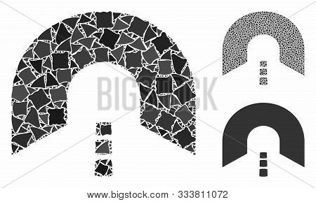 Tunnel Mosaic Of Raggy Elements In Different Sizes And Shades, Based On Tunnel Icon. Vector Rugged E