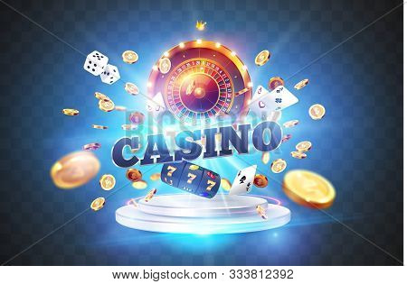 The Word Casino, Surrounded By A Luminous Frame And Attributes Of Gambling, On The Podium, On A Expl