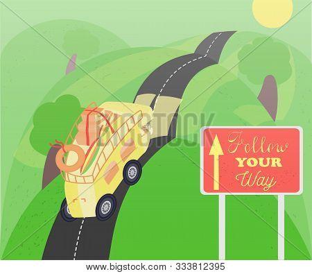 Cartoon Campervan Driving On The Road In Summer
