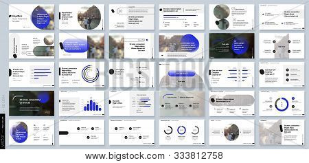 Blue Presentation Templates Elements On A White Background. Vector Infographics. Use In Presentation